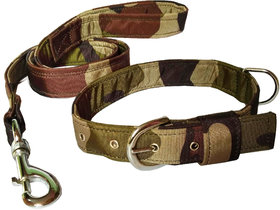 Petshop7 Premium Quality  Stylish Nylon Printed Army Design Brown Dog Collar  Leash (0.75 inch Small Size