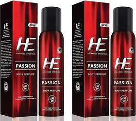 HE Passion No-Gas Perfume Body Spray - For Men  (122 ml, Pack of 2)