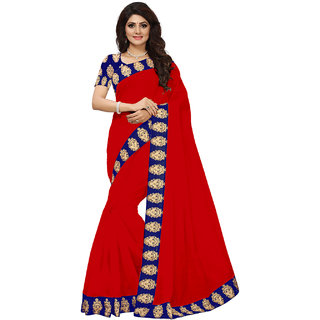 VIBHAA Red Chanderi Saree