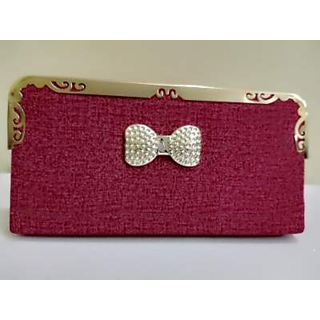Daisy collection dark pink matte finish clutch