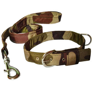 Petshop7 Premium Quality  Stylish Nylon Printed Army Design Brown Dog Collar  Leash (0.75 inch Small Size