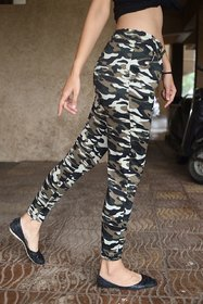 Camouflage Print Light Khaki,Green,Black,Dark Grey Patches Women's / Girl's Jegging /Track Pant /Yoga Pant /Gym Pant /