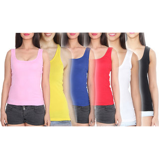Vansh fashion Multicolor Casual Cotton Plain Tank Tops (Pack of 6)