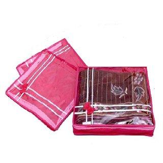 ADWITIYA - Set of 3 Pcs Bow Design 2 inch Nonwoven Saree Salwar Suit Shirt Jeans Bedsheet Garment Cloth Cover Case -Pink