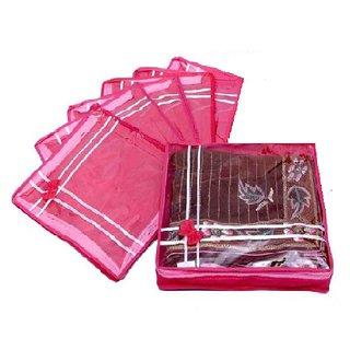 ADWITIYA - Set of 6 Pcs Bow Design 2 inch Nonwoven Saree Salwar Suit Shirt Jeans Bedsheet Garment Cloth Cover Case -Pink