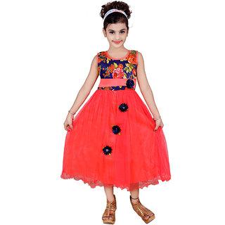 KBKIDSWEAR Girl's Round Neck Party Wear Premium Net Dress