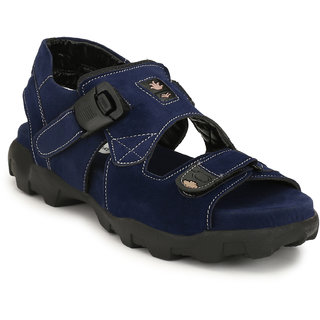 Shoegaro Men's Blue Suede Sport Sandal