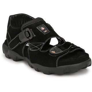 Shoegaro Men's Black Suede New Look Sport Sandal
