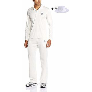 Prime-ARFA Combo Cricket Uniform 42 No. for 22-26 Years boy or Girl Set of Full Sleeves Shirt and Pant with Hat White Colour by Aaina Sports.