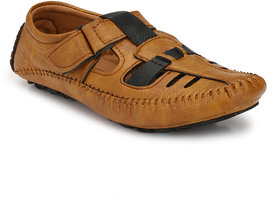 Real Blue Tan Leather EVA Casual Loafers For Men