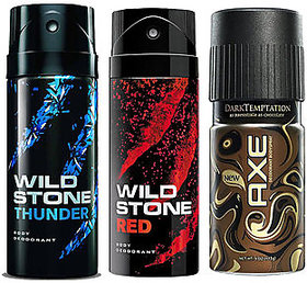 1 Axe And 2 Wild Stone Deo Deodorants Body Spray For Men - Combo Pack OF 3 Pcs