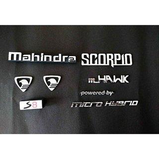 MAHINDRA SCORPIO S8 MICRO HYBRID CAR DECAL EMBLEM MONOGRAM DECAL CHROME