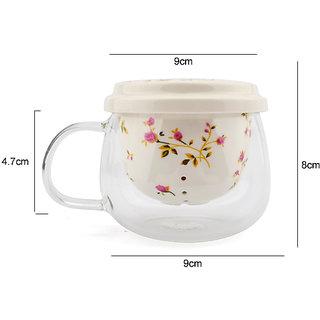 Rosette Tea cups Teapot With Lid Tea Leaves Filter Strainer Lemon Tea Maker Coffee Infusers Mug Glass+Ceramic For Creati