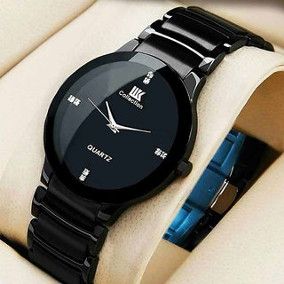 IIK Round Dial Black Metal Strap Men Quartz Watch for Men