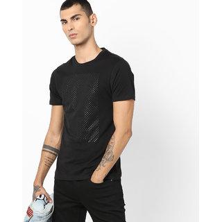 Stylogue Men's Black Round Neck T-shirt