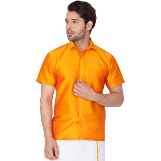 3d49da25040562 Buy Vastramay Men Orange Cotton Silk Ethnic Shirt Online   ₹529 ...