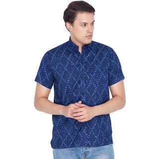Vastramay Men Blue Cotton Ethnic Shirt