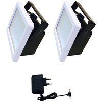 Set of 2 White Wall-mounted Rechargeable Emergency Light With Charger