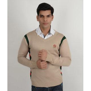 Yellow Tree Mens Beige Sweater Branded Plain Sweater G u c c i V Neck Sweater For Mens