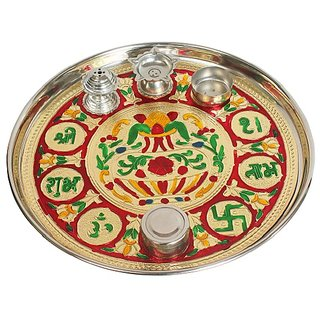 Traditional India Stainless steel Poojan Thali With Multi Design And Multi Colors Diameter-27.5cm