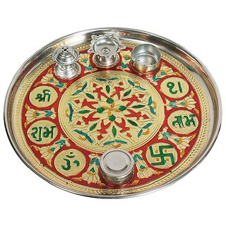 Evershine Stainless steel Poojan Thali With Multi Design And Multi Colors Diameter-27.5cm