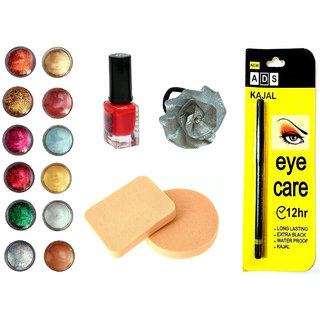 Vozwa Face and Eye Shadow Shimmer Powder, Sparkles Nail Art Glitter Powder, Nail paint, Eye Care Kajal, Cosmetic Foundation Powder Puff Sponge and Hair Band - Combo of 16