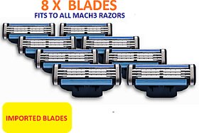 Imported 8 PCS lot of Mach3 Razor Blades used for Gillette Razor for Men 3 layers Shaving Razor Blade