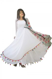 Raabta Fashion White Multicolor Georgette Full Sleeves Casual Maxi Fit & Flare Dress RDW11022 (Only Dress) No Duppata