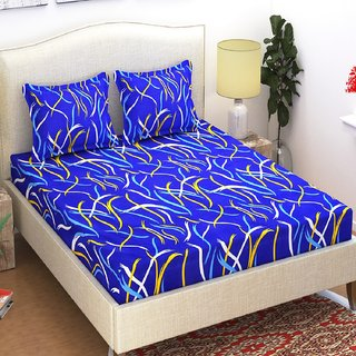 Azaani Polycotton Double Bedsheet with 2 Pillow Covers Blue