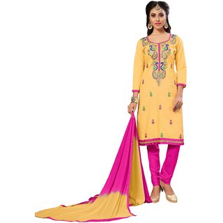 Buy Ujjwal Creation Yellow and Pink Cotton Dress Material Online - Get 60%  Off 510d28944