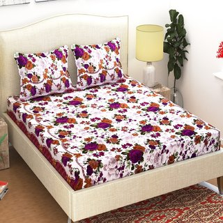Azaani Polycotton Double Bedsheet with 2 Pillow Covers  Cream
