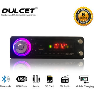 Dulcet Fixed Panel Single Din Mp3 Bluetooth/USB/FM/AUX/MMC Car Stereo With Premium 3.5mm Aux Cable DC-A-4007 Car Stereo