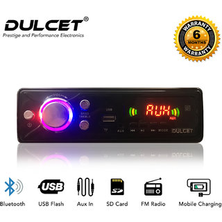 Dulcet Fixed Panel Single Din Mp3 Bluetooth/USB/FM/AUX/MMC Car Stereo With Premium 3.5mm Aux Cable DC-A-4008 Car Stereo