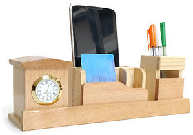 Shivom Crafts Wooden Desk Organizer, Pen Stand, Mobile Holder, Card Holder, Table Clock, stationery Organizer