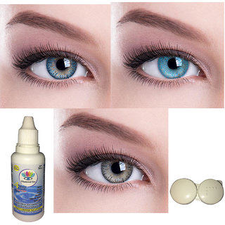 Dark blue Sky blue Grey Color monthly Contact Lens 3 Pair With Solution