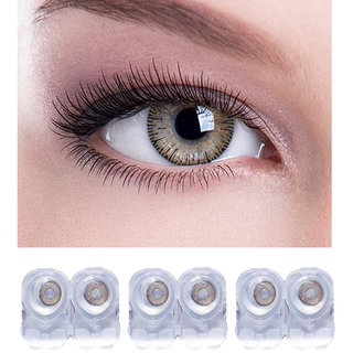 hazel color 3 pair contact lens with case and solution.