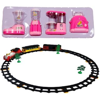 New Pinch Combo of Educational Household Set YH437 Role Play Toy with Train with Big Track, Light and Sound for Kids