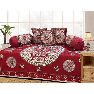 Azaani Red Floral Cotton Diwan Set