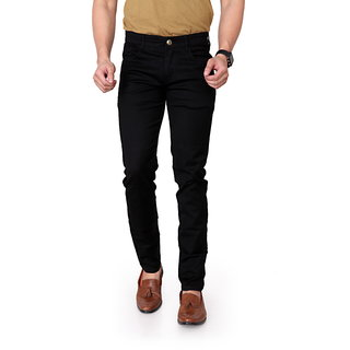 Ragzo Men's Stretchable Slim Fit Black Jeans