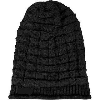 Tahiro Black Woollen Winter Beanie Fur Cap - Pack Of 1
