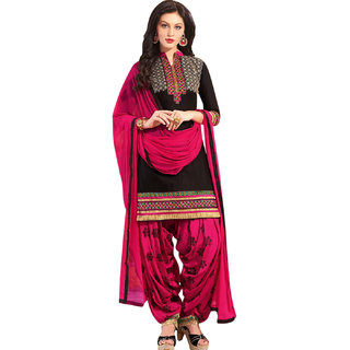 Buy Ujjwal Creation Black and Pink Cotton Dress Material Online - Get 58%  Off 17908634d