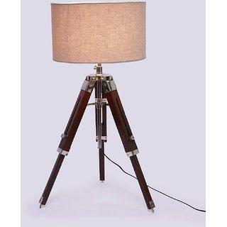 studio 12 beige drum sheesham wood tripod floor lamp