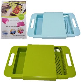 Multifunctional 3 in 1 Sliding Plate Outdoor Cutting Chopping Board With Storage Drawer  Drain Tank