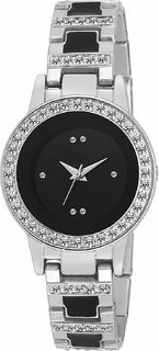 Cloxa Analog Round Black Dial Women's Watch