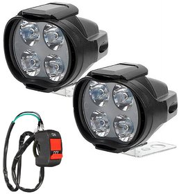 Autosky 4 LED Car-Bike Fog Light Spot Beam Off Road Driving Fog LED Light Lamp2Pcs With On-Off Switch