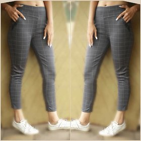 Grey Check Slim Fit Stretchable Jeggings