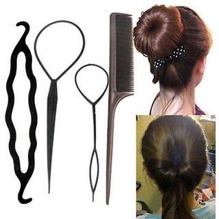 RKD women hair accessories 4pcs bun maker tool kit (black)
