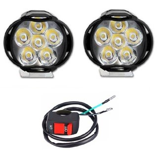 Autosky 6 LED Motorcycle Bike LED Headlight Driving Fog Spot Light Lamp 2pcs On Off Switch