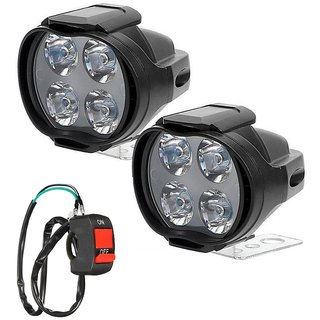 Autosky Car Bike Fog Light 4 LED Spot Beam Off Road Driving Fog LED Light Lamp 2Pcs With On-Off Switch