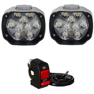 Autosky Motorcycle Bike LED Headlight Driving 9 LED Fog Spot Light Lamp 2pcs On Off Switch